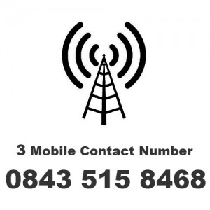 Call the 3 Mobile Contact Number on 0843 515 8468